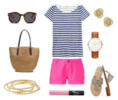 """""""Striped Tee"""" by pinkngreennblack ❤ liked on Polyvore featuring J.Crew, The North Face, Jack Rogers, Daniel Wellington, NARS Cosmetics and Karen Walker"""