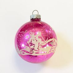 VINTAGE CHRISTMAS ORNAMENT  Shiny Brite  Pink by IWANTVINTAGE