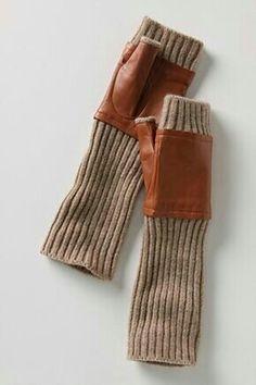 fingerless gloves with leather.Bomber fingerless gloves--for driving Recycled Leather, Leather Craft, Skandinavian Fashion, Cotton Anniversary, Third Anniversary, Anniversary Ideas, Leather Gloves, Wool Gloves, Mens Gloves