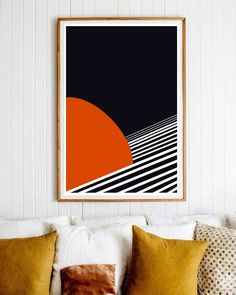 bold and warm art for the walls of your home with Jo-Lou Design. Bring in Navy and Orange into your home with this art. Inspired by the depth of space  #ideas #wall #art #print #decor #living #room #bedroom #navy #orange Modern Prints, Modern Wall Art, Large Wall Art, Mid-century Modern, Large Art, Living Room Prints, Living Room Decor, Office Wall Art, Office Decor