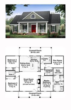 Traditional House Plan 59952 Total Living Area 1870 sq ft 3 bedrooms and 25 bathrooms The great room has gas logs as well as builtin cabinets and 10 ceilings that make i. New House Plans, Dream House Plans, Small House Plans, My Dream Home, Dream Houses, House Plans One Story, Floor Plans For Houses, House Plans With Garage, House Plan With Basement