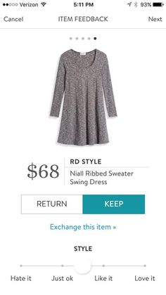 RD Style Niall Ribbed Sweater Swing Dress - would look great with leggings!