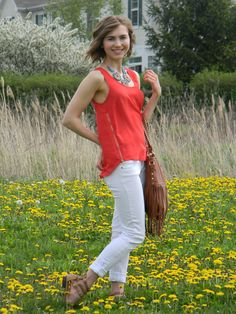 Updated Spring Uniform http://www.emilyehardt.com #fashion #style #stylist #makeup #hair #hairdo #hairstyle #whitejeans #fringe #statementnecklace #pretty #glam #spring #summer #maxxlife #StayClassy