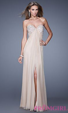 Long Open Back Strapless La Femme Prom Dress