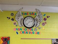 Classroom Clock Decor and Upgrade Ideas - WeAreTeacehrs Art Classroom Posters, Classroom Clock, Art Classroom Decor, Art Room Posters, Art Classroom Management, Elementary Art Rooms, Art Lessons Elementary, High School Art, Middle School Art