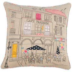 Applique Detail 'Paris CafÉ' Cushion (¥1,595) ❤ liked on Polyvore featuring home, home decor, throw pillows, floral throw pillows, paris home decor, floral home decor, embellished throw pillows and embroidered throw pillows