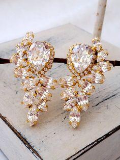White clear diamond crystal Statement stud earrings by EldorTinaJewelry | http://etsy.me/1Kl2lLq
