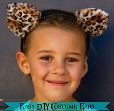 The Train To Crazy: Handmade Costume Series: DIY Animal Ears Tutorial Felt Headband, Cat Ears Headband, Ear Headbands, Dress Up Costumes, Cat Costumes, Baby Halloween Costumes, Sewing Kids Clothes, Sewing For Kids, Diy For Kids