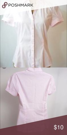 Pink button down blouse Short sleeve pink button down blouse. Great with pencil skirt, under a blazer or even with jeans. Express Tops Button Down Shirts