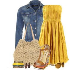 Perfect for a day of shopping: a yellow strapless empire styled dress, paired with a dark wash jean jacket, and colorful boho wedged heels. Topping off this look: yellow rimmed sunglasses, multi-colored bangles, and a woven sandy hobo bag.