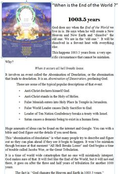 """Christian Books :: """"FACTS: the Chapbook Series"""" :: FACTS: 2012 :: """"When is the End of the World?"""
