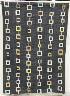 """Couldn't Keep It To Myself"" quilt by Denyse Schmidt, charcoal, poste by Undercover Crafter"