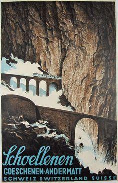 Schoellenen  Item #: TRV-2524  Category: Travel  Artist: Anonymous  Circa: 1928  Origin: Switzerland  Dim: 25 1/2 x 39 3/4 in.