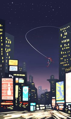 Spidey and the landscape by @eggcat