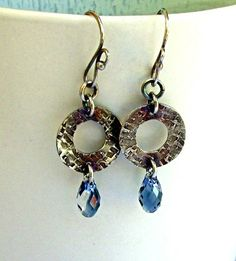 Handmade Hoop Earrings Blue Swarovski Crystal by KDTwistedElements, $36.00
