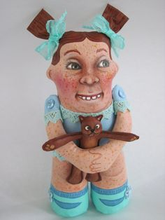 Ugly Ginger 7 and her silly dog OOAK art doll by by donnadollart, $145.00