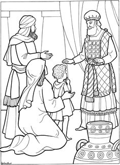 Hannah presents Samuel to God, keeping her promise to dedicate him to God's service. Biblw coloring page.