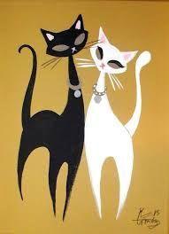 Ideas For Cats Design Illustration Mid Century Retro Kunst, Retro Art, Mid Century Modern Art, Mid Century Art, Modern Dollhouse Furniture, Cat Quilt, Arte Pop, Cat Drawing, Cat Design