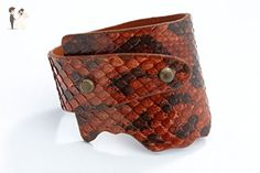 Genuine Anaconda Wide-Wrap Luxury Bracelet in Bourbon (Red-Brown) - Exotic Leather - Wedding bracelets (*Amazon Partner-Link)