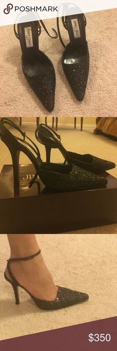 Elegant Jimmy Choo heels Black glitter Jimmy Choo pump. Pointed toe. Satin heel & ankle strap. Size 7 1/2. Cones with original box and dustbag Jimmy Choo Shoes Heels