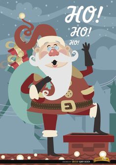 Christmas background showing Santa Claus in cartoon about to jump in a chimney. It's perfect for using in toy stores, gift stores, or in cards for sending your wishes to your loved ones in Christmas time. Our team wishes you a Merry Christmas. High quality JPG included. Under Commons 4.0. Attribution License.
