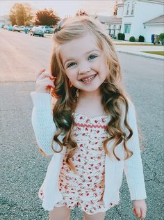 Little girl hairstyle long hair curls curled wavy beach waves