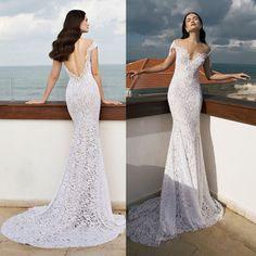 2015 Romantic Vestido De Casamento Sexy White Off the Shoulder Lace Wedding Dresses Sheer Backless Mermaid Bridal Gowns W3910