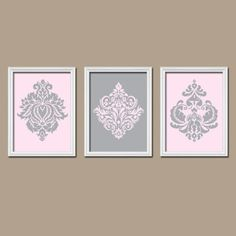 Pink Wall Art girl nursery art- pink gray girl monogram wall art- flower burst