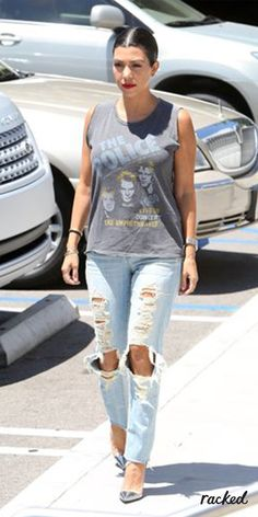 72405658a8d3 Kourtney Kardashian In Ripped Jeans and a Rocker Tee    A Timeline of Kanye  West s