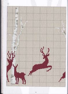 Deer silhouette & trees part 3 Xmas Cross Stitch, Just Cross Stitch, Cross Stitch Borders, Cross Stitch Animals, Counted Cross Stitch Patterns, Cross Stitch Charts, Cross Stitch Designs, Cross Stitching, Intarsia Knitting