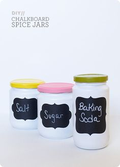 Trash-to-Treasure Painted Chalkboard Jars. Paint glass jars a color, the lids another color, and add chalkboard label
