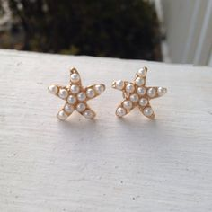 Gold and Pearl Starfish Earring Studs by SaltwaterBliss on Etsy $10