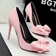 >> Click to Buy << Free shipping 2017 spring new fashion Bowtie pointed toe pumps women OL shoes heel 10.5cm #Affiliate