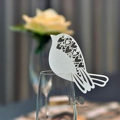 2 Colors DIY Place Card Bird With Heart Cups Glass Wine Wedding Name Cards Laser Cut Pearlscent Paper Cards Party Decor Name Place Cards Wedding, Wedding Table Names, Wedding Name, Wedding Cards, Heart Wedding Invitations, Wedding Party Favors, Wedding Decorations, Decoration Party, Wedding Ideas