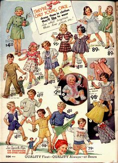 Children's Fashion:  Spring1934 Sears Catalog
