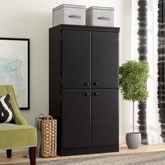 Latitude Run Preciado 4 Door Storage Cabinet Finish: Pure Black 3 Drawer Storage Unit, Door Storage, Office Storage, Storage Spaces, Tall Cabinet Storage, Storage Cabinets, Howard Storage, Laminated Mdf, Business Furniture