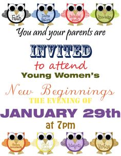 Young Women New Beginnings 2013 - Owl Remember to Stand in Holy Places and Be Not Moved - Owls from corisdesigns.blogspot.com