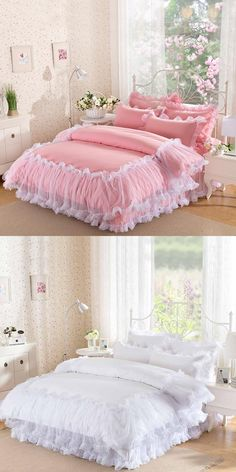 4Pieces White Lace Bedspread Princess Solid Color Lacework Bedding Set King Queen Size Bed Set Cotton Duvet Cover Bed Skirt