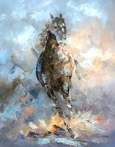 Item DetailsPainting is not in a frame Abstract Horse Painting on Canvas created with palette knife Heavy oils applied 20'' x 24'' abstract art