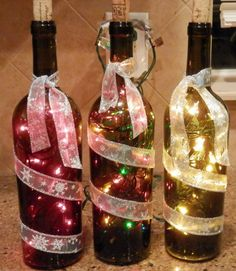 Wine bottle light by LadybugJellybean on Etsy, $9.00