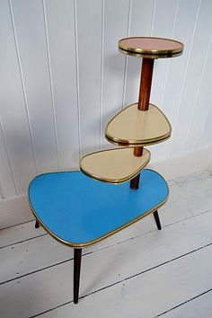 Original and rare, 1950's Plant Stand standing 74cms tall. The formica is in the original colours and is in excellent condition.