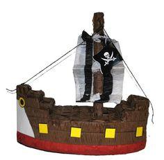 Piratenschip pinata 45 cm. Leuke pinata in de vorm van een bruin piratenschip inclusief piratenvlag in de mast. De pinata kan naar wens gevuld worden met snoepgoed of kleine cadeautjes. De pinata is ongeveer 45 cm x 45 cm x 20 cm groot en gemaakt van papier mache en karton.