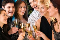 Photo about Portrait of six happy people holding glasses of champagne making a toast. Image of festivity, gathering, group - 3839837 Big Five Modell, Black White Parties, Black And White, House Party Outfit, Engagement Party Games, Engagement Ideas, Wedding Engagement, Cocktails For Parties, Party Drinks