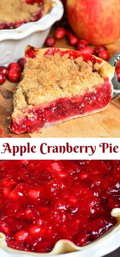 This Apple Cranberry Pie is a juicy sweet and tart combination of fresh cranberries and apples filled inside a pie crust and topped with sweet crumble pie Coconut Recipes, Cream Recipes, Baking Recipes, Snack Recipes, Dessert Recipes, Apple Cranberry Pie, Cranberry Dessert, Fresh Cranberry Recipes, Fall Desserts
