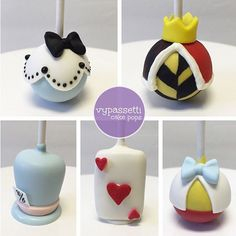 Alice in Wonderland Alice, Queen of Hearts, Mad Hatter, Card of Hearts, Tweedle Dee & Tweedle Dum Cake Pops