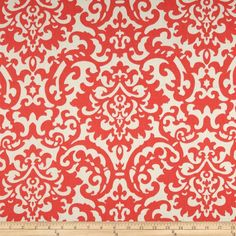 Waverly Duncan Damask Twill  Coral from @fabricdotcom  Screen printed on cotton twill, this light/medium weight fabric is very versatile. This fabric is perfect for window treatments (draperies, valances, curtains, and swags), bed skirts, duvet covers, pillow shams, accent pillows, tote bags, aprons and upholstery. Colors include coral and ivory.