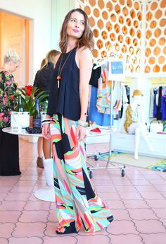 What I wore to host Trina Turk's spring style event...palazzo pants!