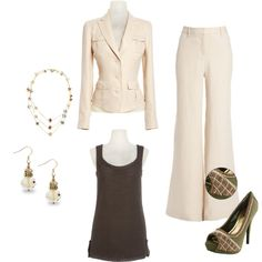 Buttercream Business Attire.  This buttercream cargo jacket with buttercream wide leg blake pants, an olive tank and shoes as accents create an executive look, summer style. Created by tbowers324 on Polyvore.