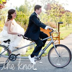 Perfect portrait for the Bride and Groom's tandem bicycle themed wedding //  Larissa Cleveland Photography
