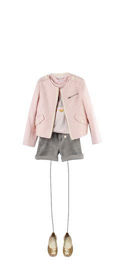 Bonpoint Summer 2015: Abby jacket Multicoloured Silkscreen printed T-shirt Pale Pink Ava shorts Cloud Melis ballet pumps Gold